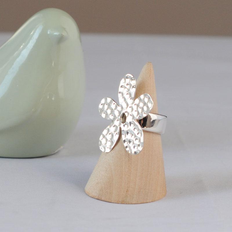 Bague argent Flower Artisan créateur bijoux à Lyon