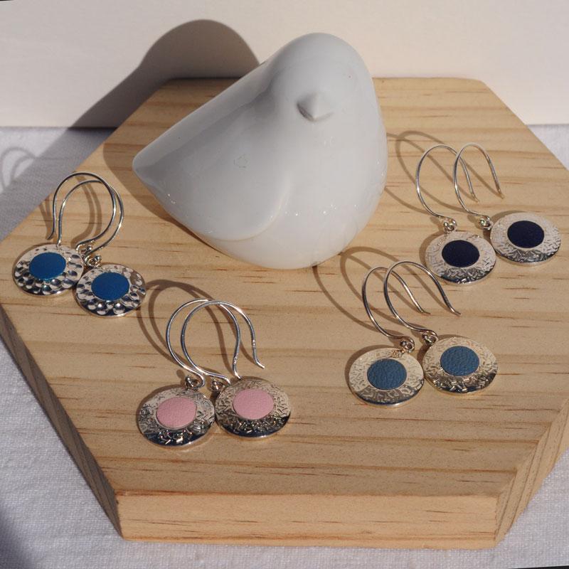 Boucles d'oreilles argent et cuir Marocco créateur bijoutier Lyon