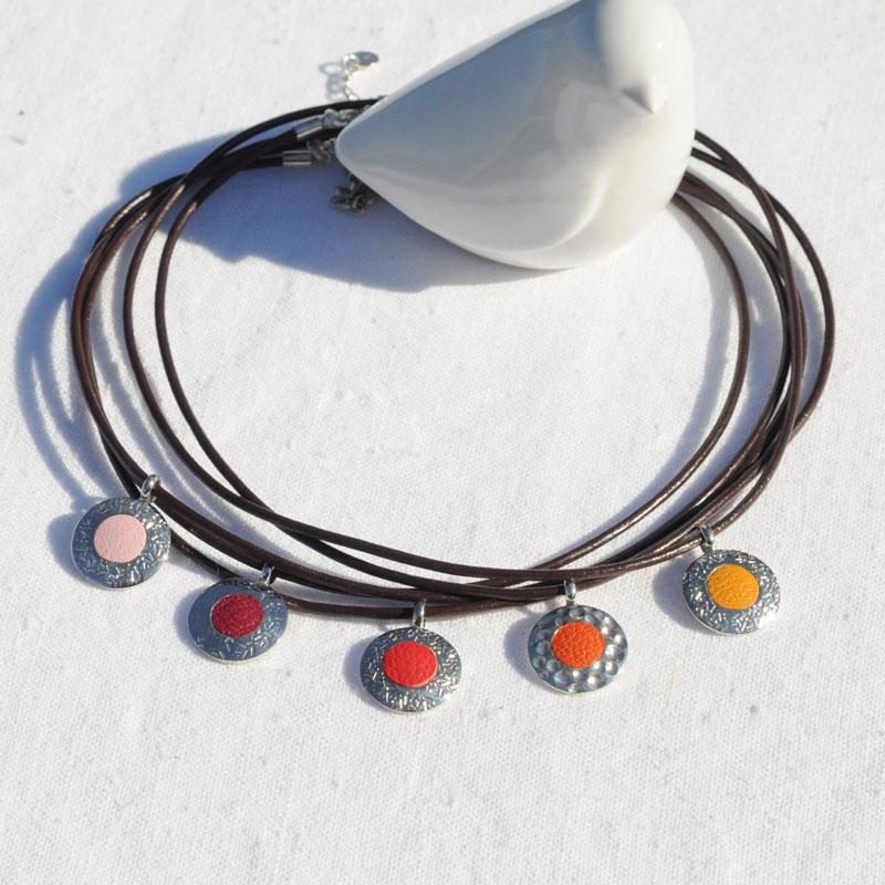 Collier argent et cuir Marocco créateur bijoux Lyon