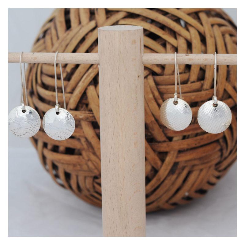 Boucles d'oreilles argent Bubble Agate & Velours artisan créateur bijoux à Lyon 1