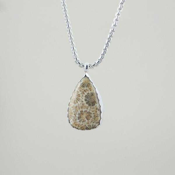 Collier corail fossilisé argent goutte bijou unique bijoutier lyon