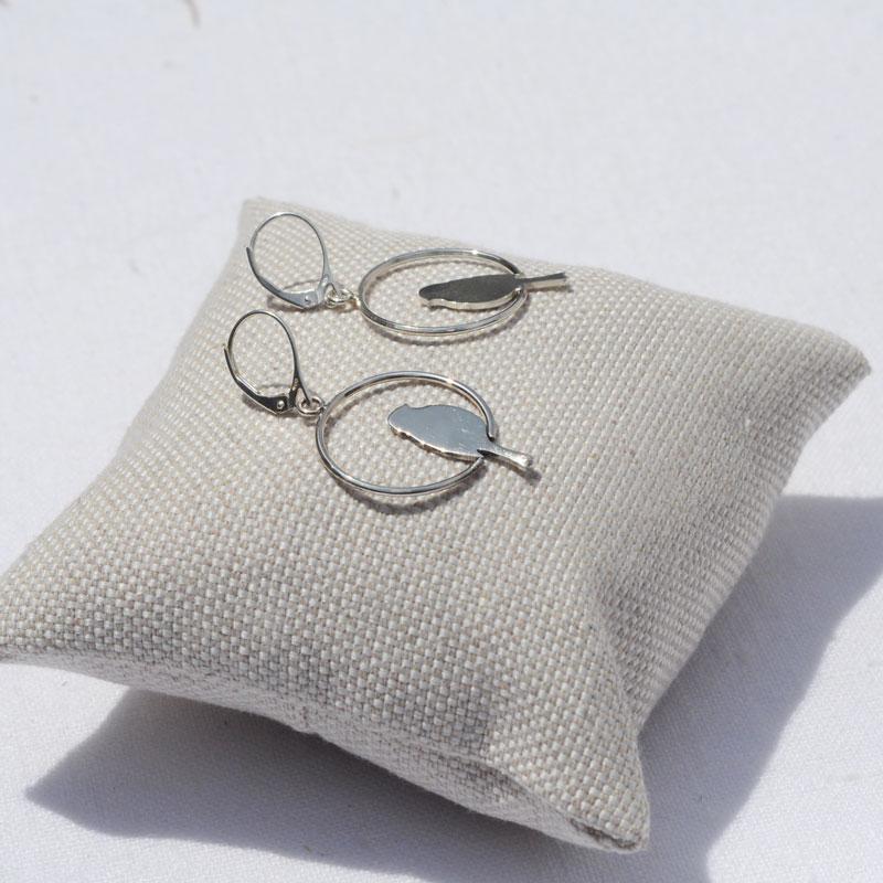 Boucles d'oreilles argent Bird créateur bijoutier Lyon