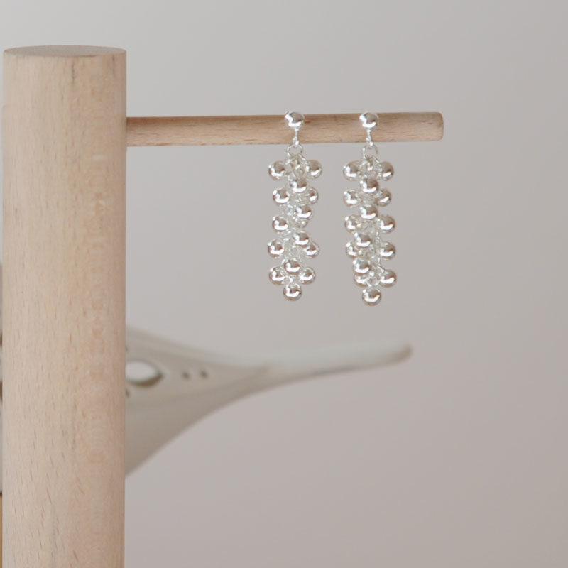 Boucles d'oreilles argent Perline double créateur bijoutier Lyon