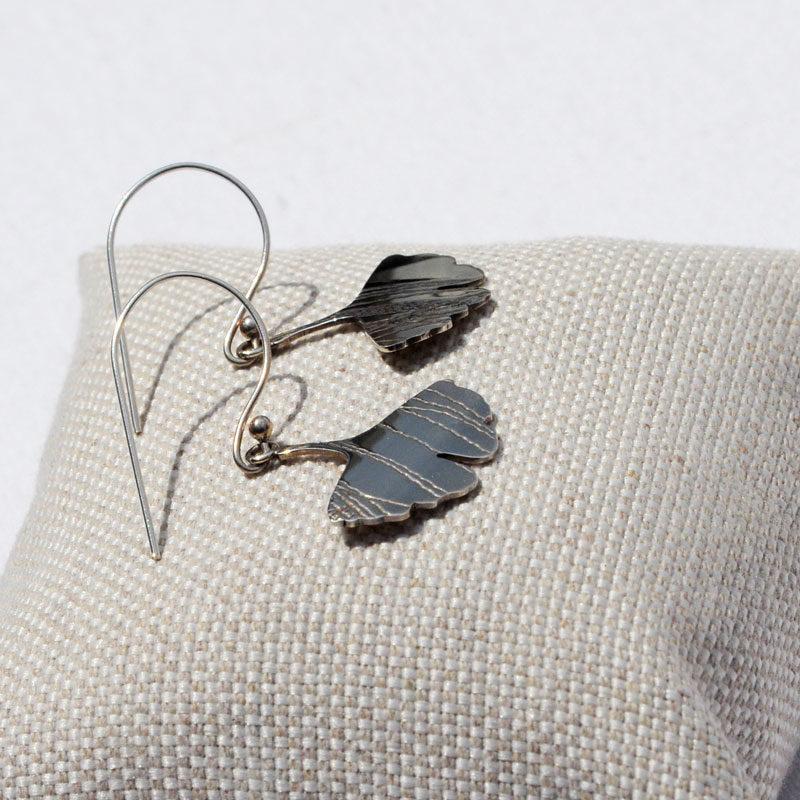 Boucles d'oreilles argent Gingko artisan créateur bijoux Lyon