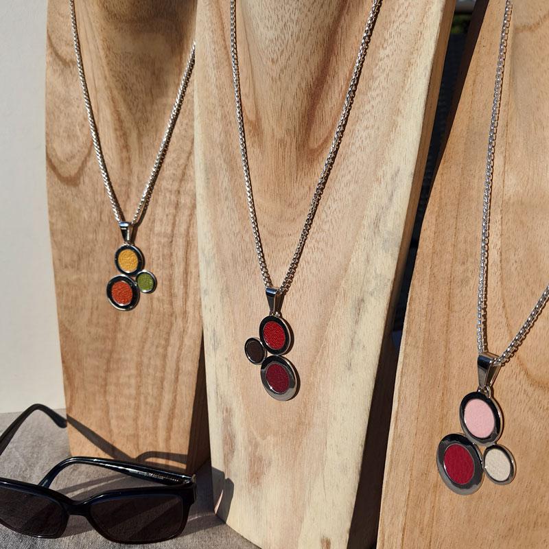 colliers argent et cuir créateur bijoutier à Lyon