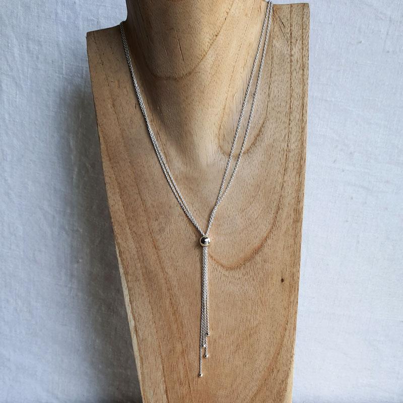 coller argent chaîne double perle créateur bijoutier à Lyon